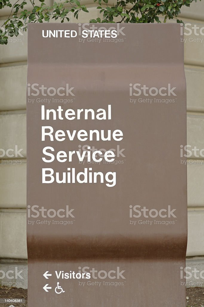 Sign for Main IRS building Washington, DC, Income Tax stock photo