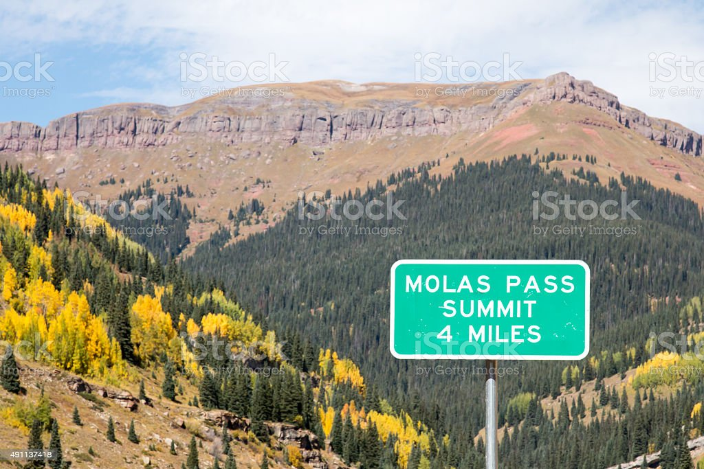 Sign for Molas Pass Summit in the autumn stock photo
