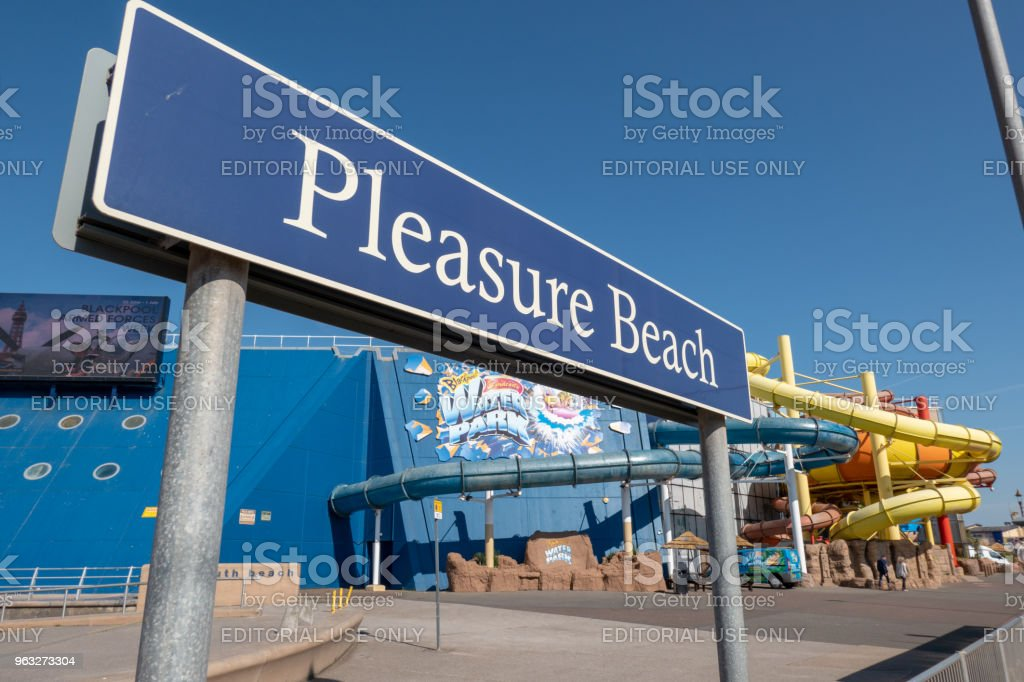 Sign for 'Pleasure Beach' in Blackpool stock photo