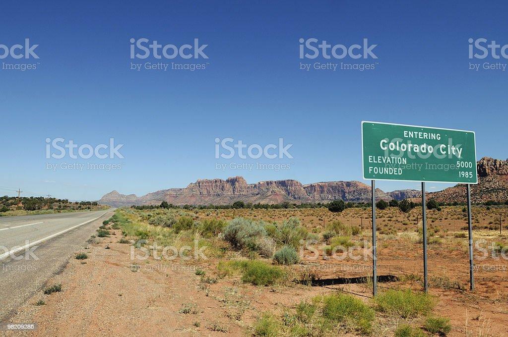Indicazioni per la poligamia città Colorado City, sede di Warren Jeffs foto stock royalty-free