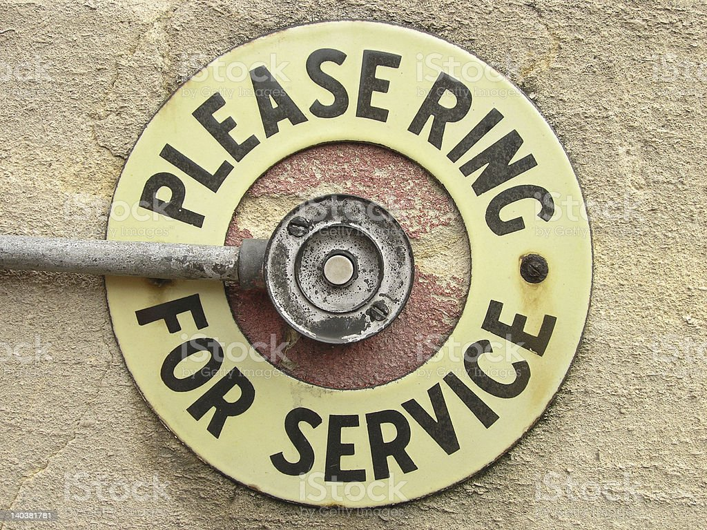 A sign for press bell to ring for service royalty-free stock photo