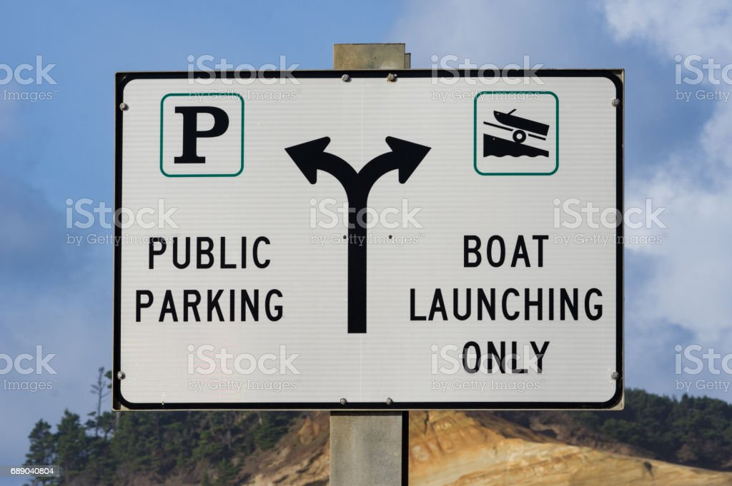 Sign for public parking and launch stock photo
