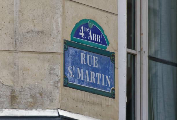 Sign for Rue Saint-Martin stock photo