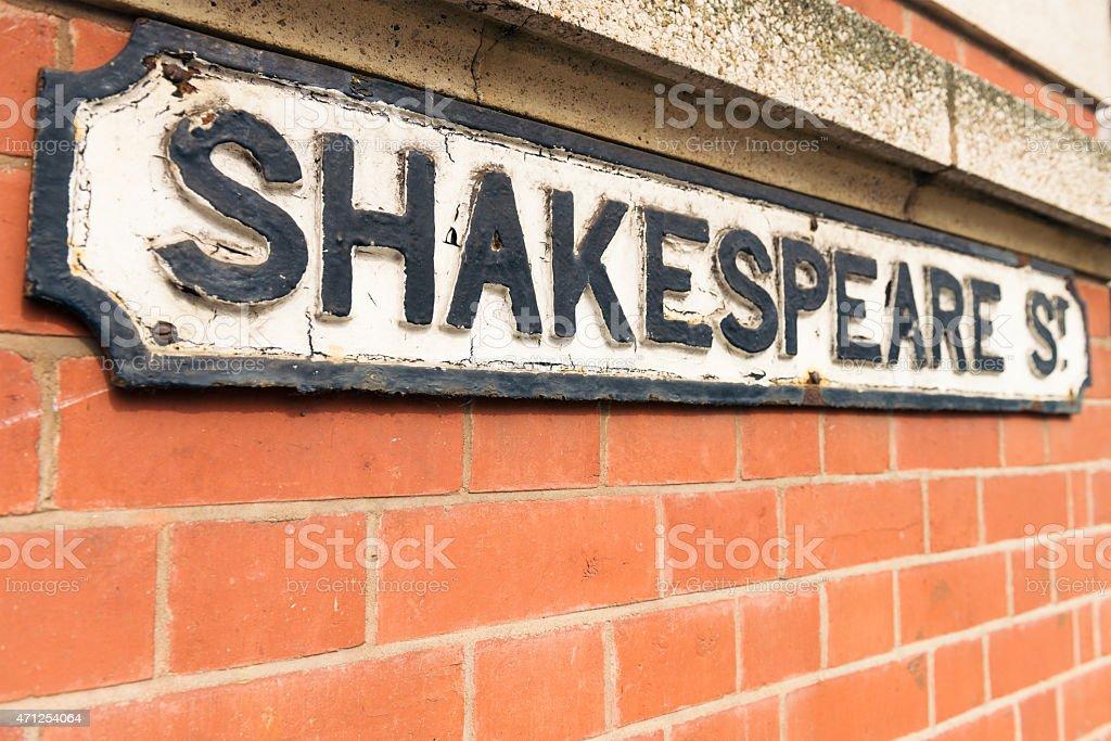Sign for Shakespeare Street  in Nottingham, England stock photo