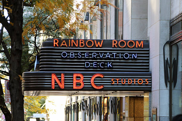 Sign for the Rainbow Room at Rockefeller Center stock photo