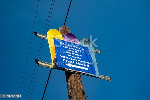 istock Sign for the St Marys Glacier and James Peak Wilderness Trail head 1279248739