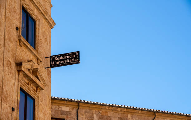 Sign for the student accommodation at Salamanca University in Spain stock photo
