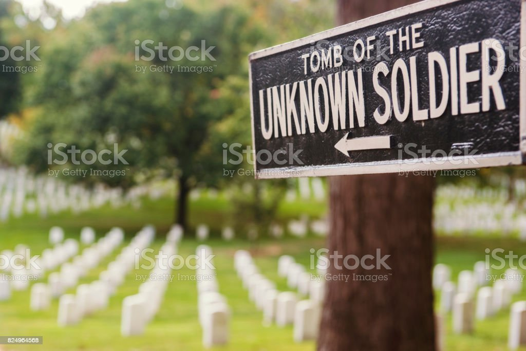 Sign for the Tomb of the Unknown Soldier in Arlington, Virginia stock photo