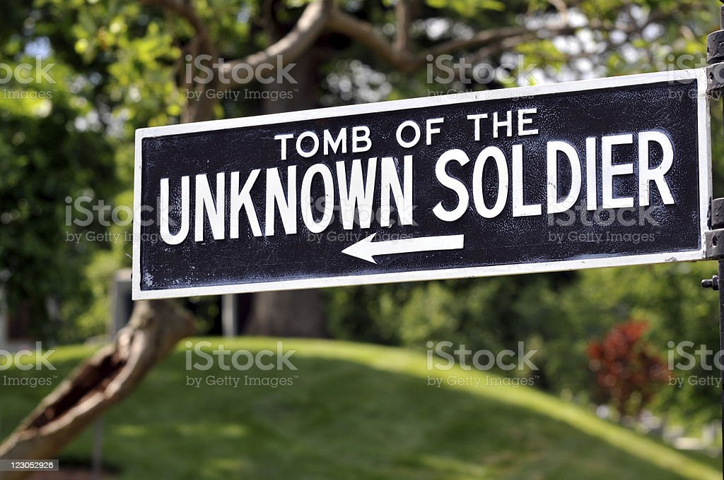 Sign for Tomb of the Unknown Soldier royalty-free stock photo
