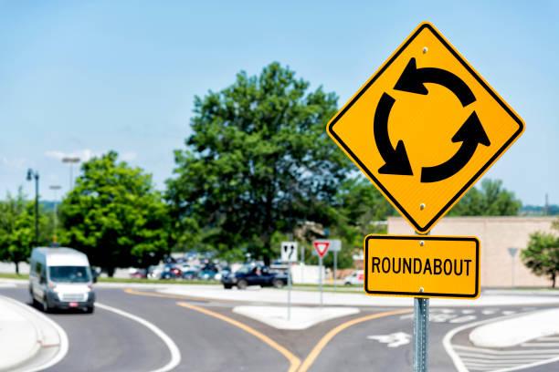 sign for traffic roundabout intersection - kreisverkehr stock-fotos und bilder
