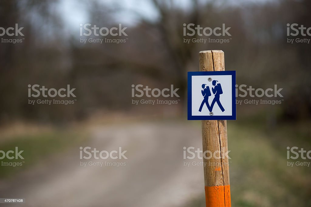 Sign for walking path stock photo