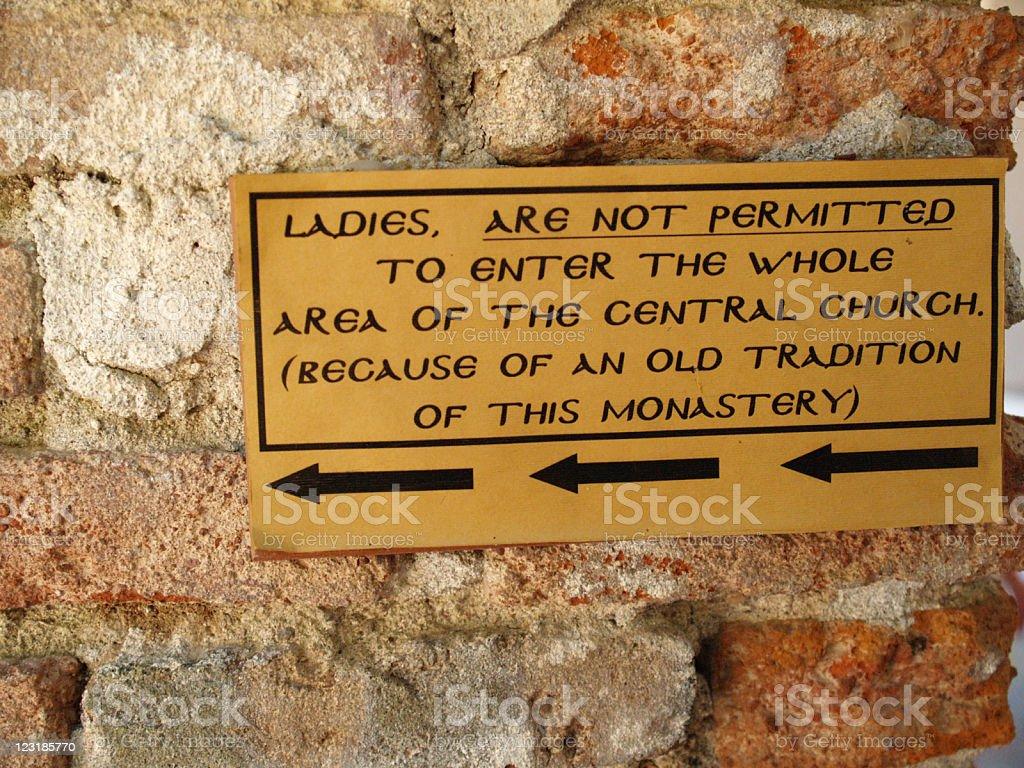 Sign Forbidden entry for women stock photo