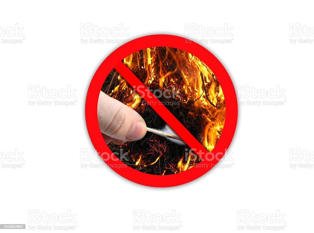 Sign forbidding to make fire stock photo