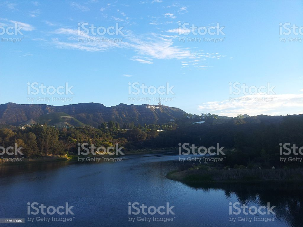 HOLLYWOOD Sign from Hollywood reservoir stock photo
