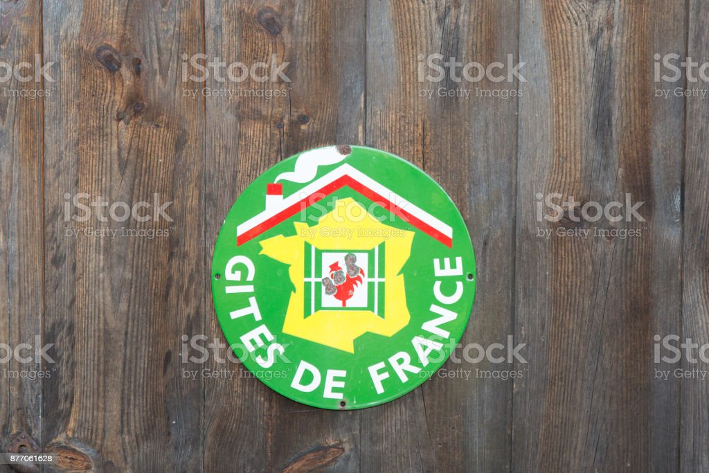 A sign 'Gite de France ' B&B in french on wooden background stock photo