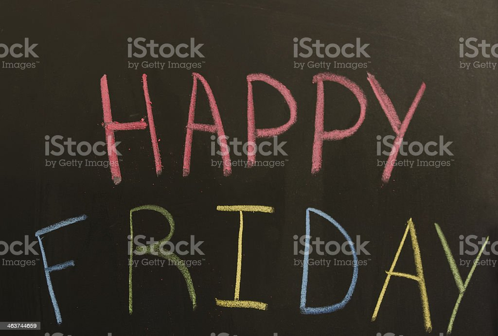 Sign 'Happy friday' on the blackboard stock photo