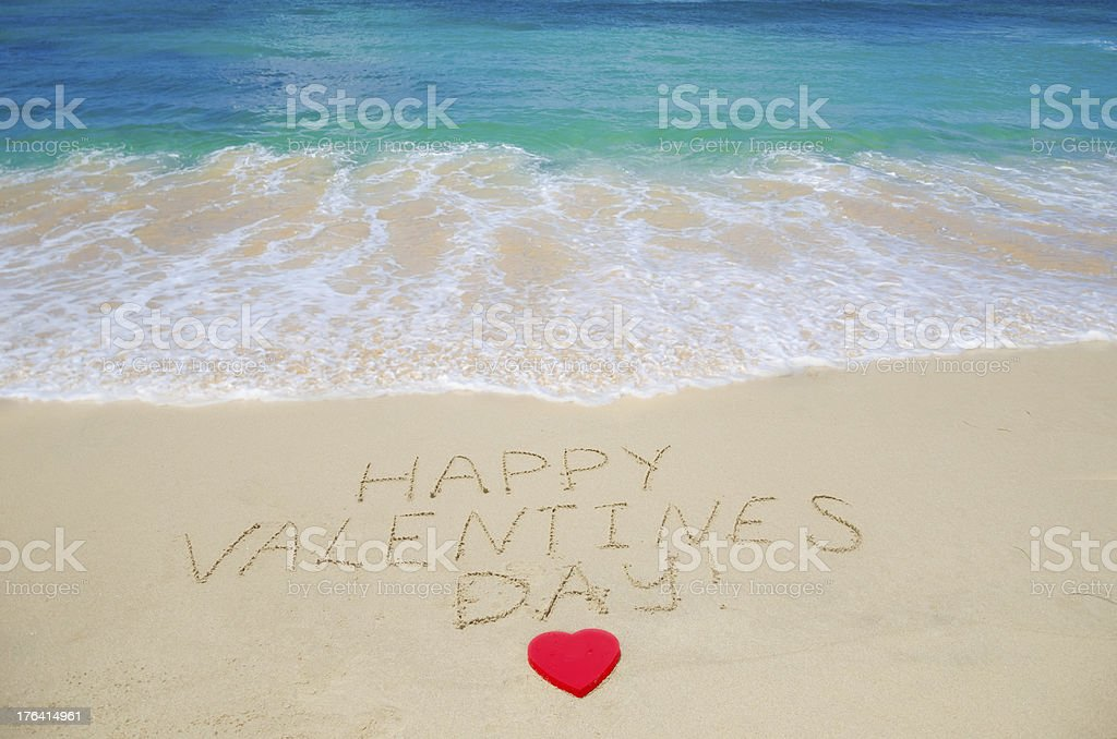Sign Happy Valentines Day On The Beach Stock Photo More Pictures
