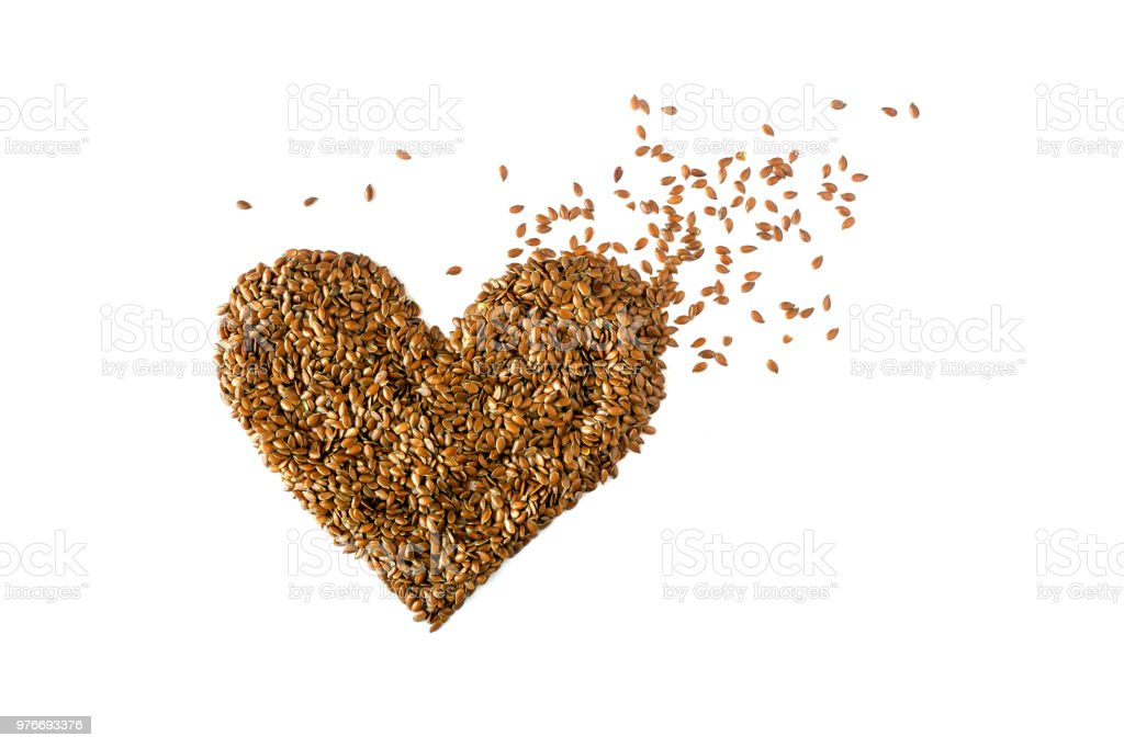 Sign Heart Lined With Flax Seeds Concept Healthy Diet Cancer