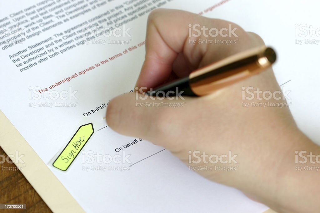 Sign Here - Contract royalty-free stock photo