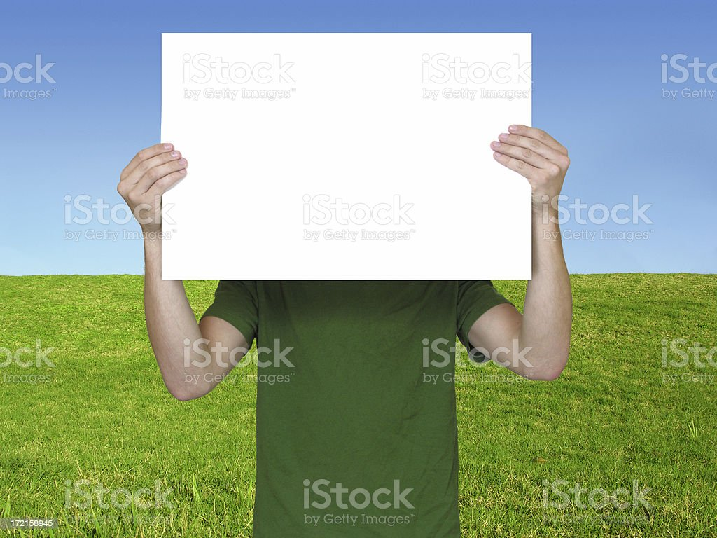 Sign Holding (green) royalty-free stock photo