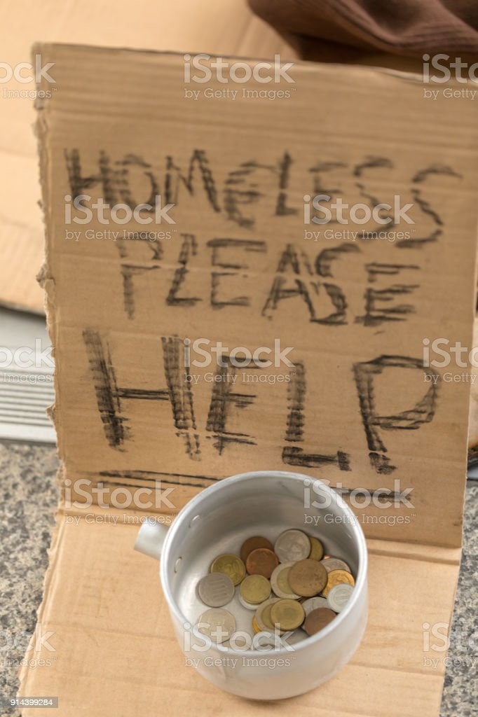Sign Homeless Need Help stock photo