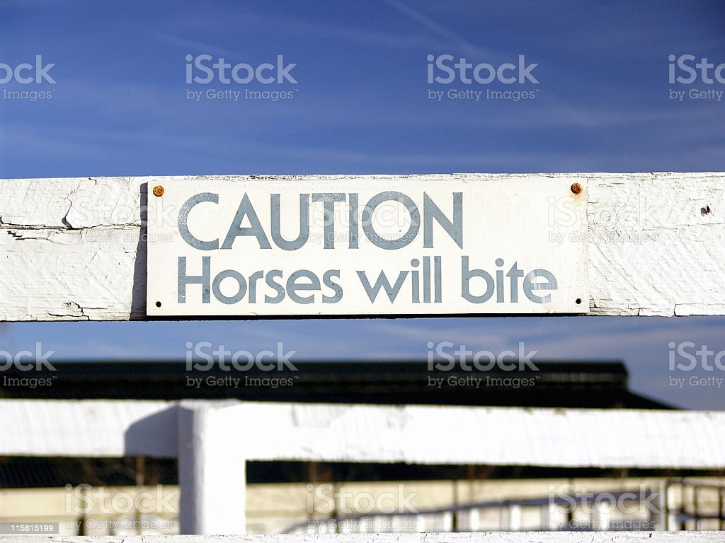 Sign, Horses Will Bite royalty-free stock photo