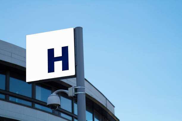 Sign, Hospital of Montreuil,Video surveillance, France stock photo