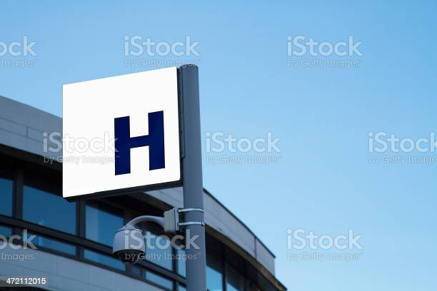 Sign Hospital Of Montreuilvideo Surveillance France Stock Photo - Download Image Now