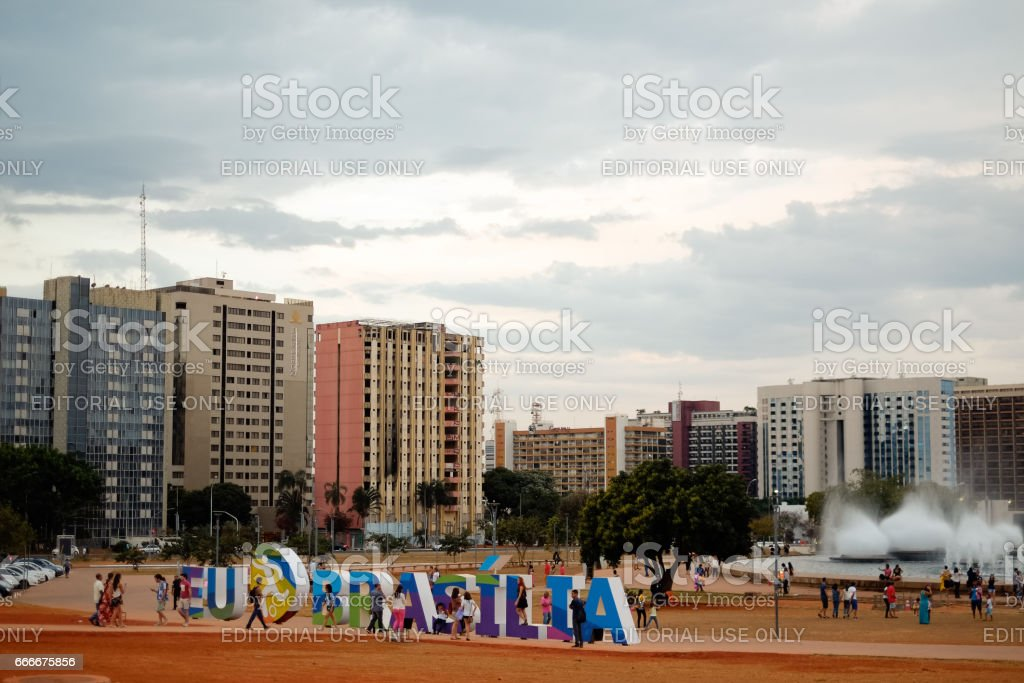 Brasilia, Brazil - August 13, 2016: Sign 'I Love Brasilia' at Burle Marx Park. I Love Brasilia was a campaign during the 2016 Olimpic Games. stock photo