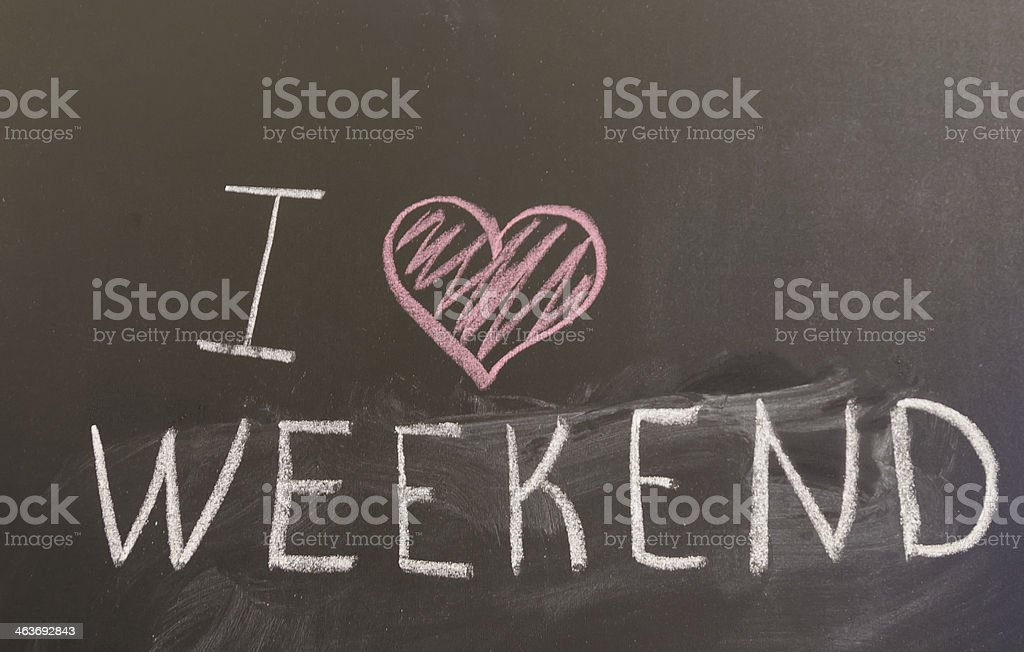Sign 'I love weekend' on the blackboard stock photo