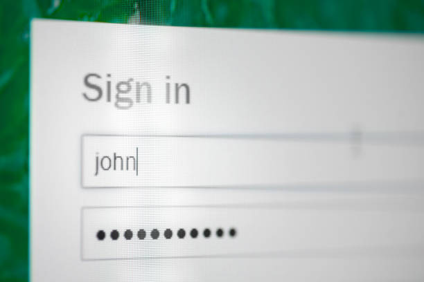 Sign in computer screen stock photo