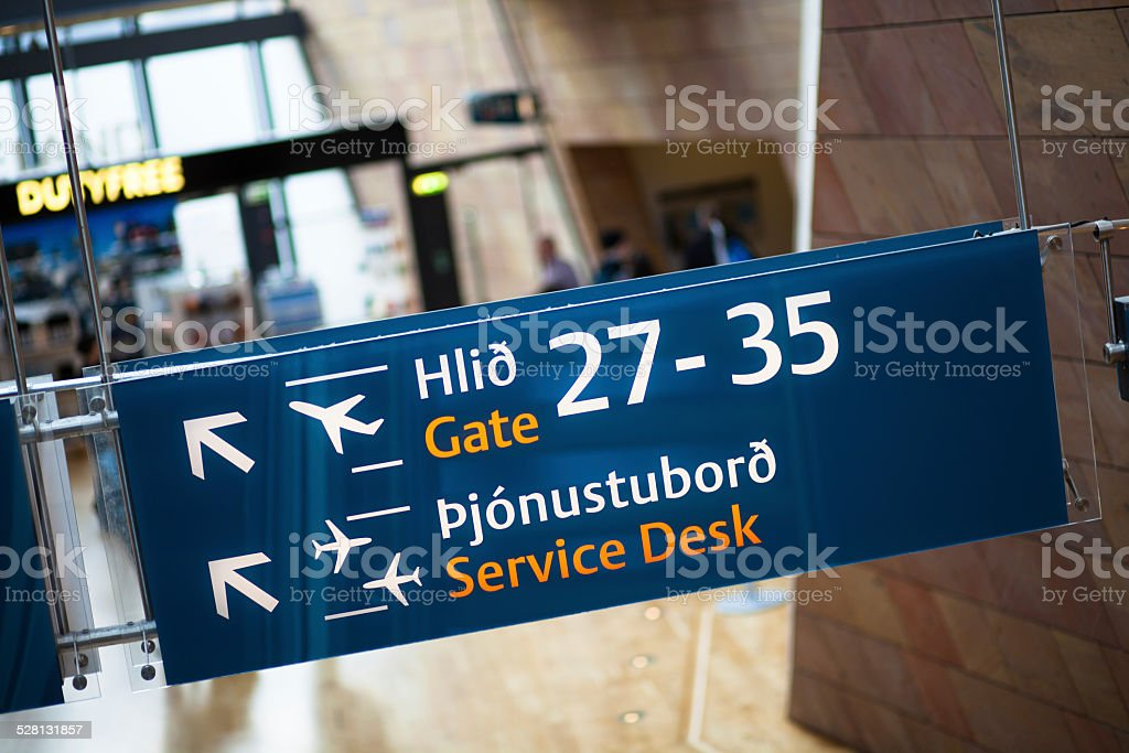 Sign in Keflavik Airport stock photo