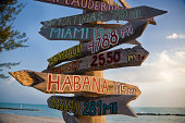 Distance sign in the key West's beach