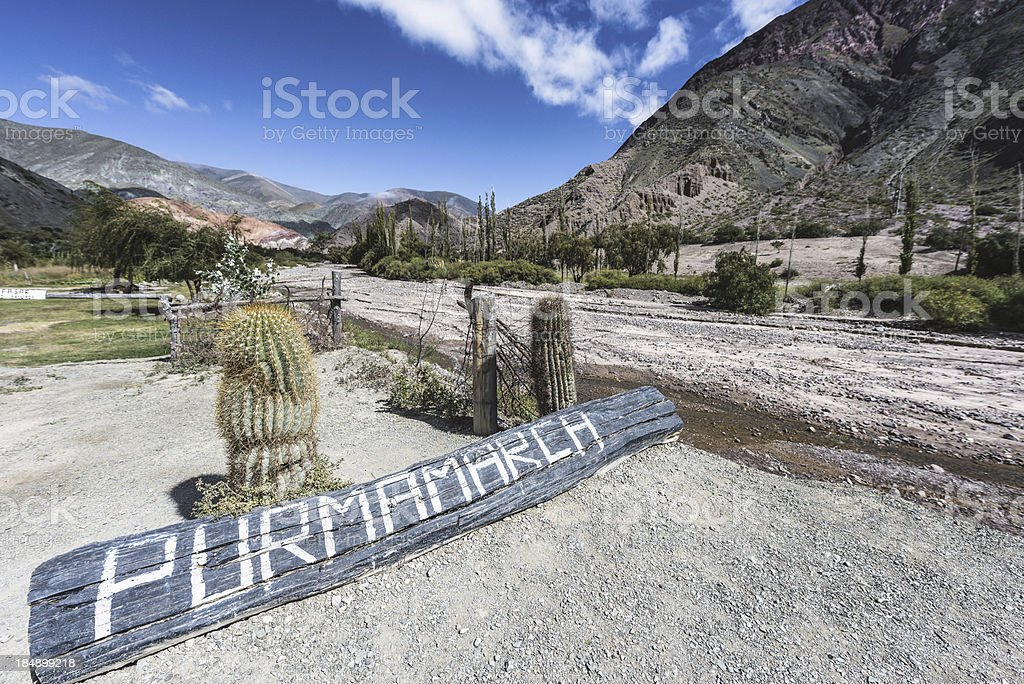 Sign in Purmamarca, Jujuy, Argentina. stock photo