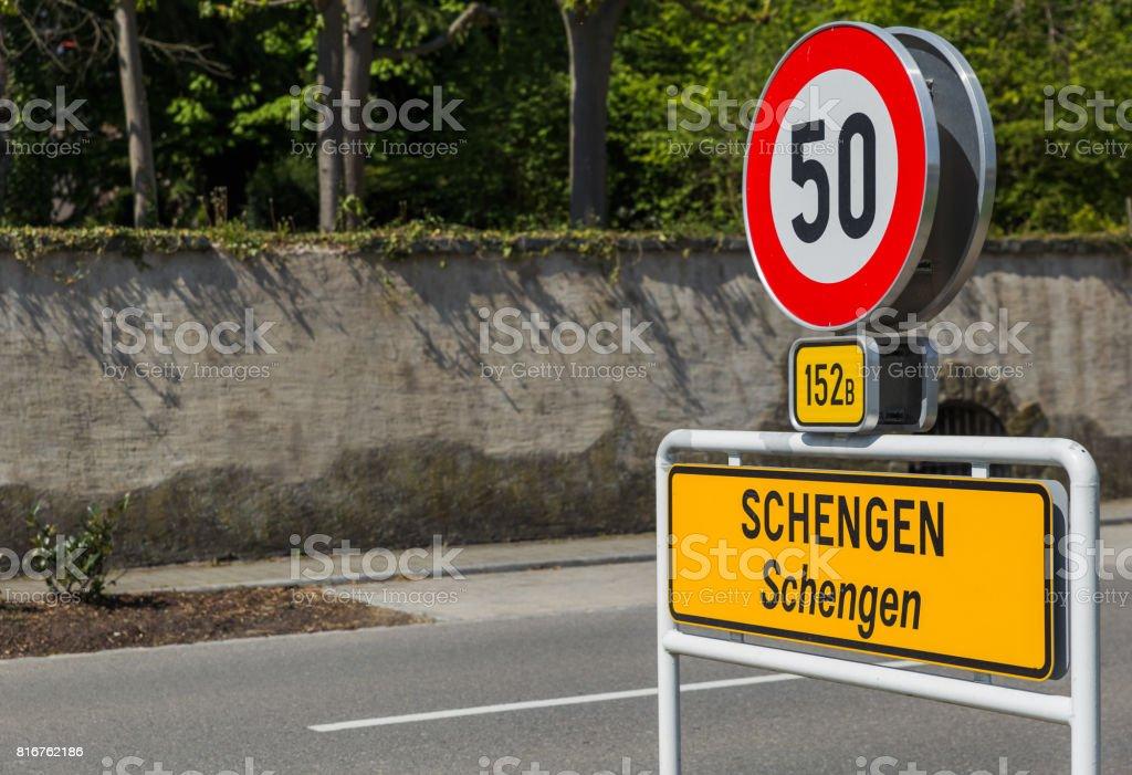 Sign in Schengen Luxembourg stock photo