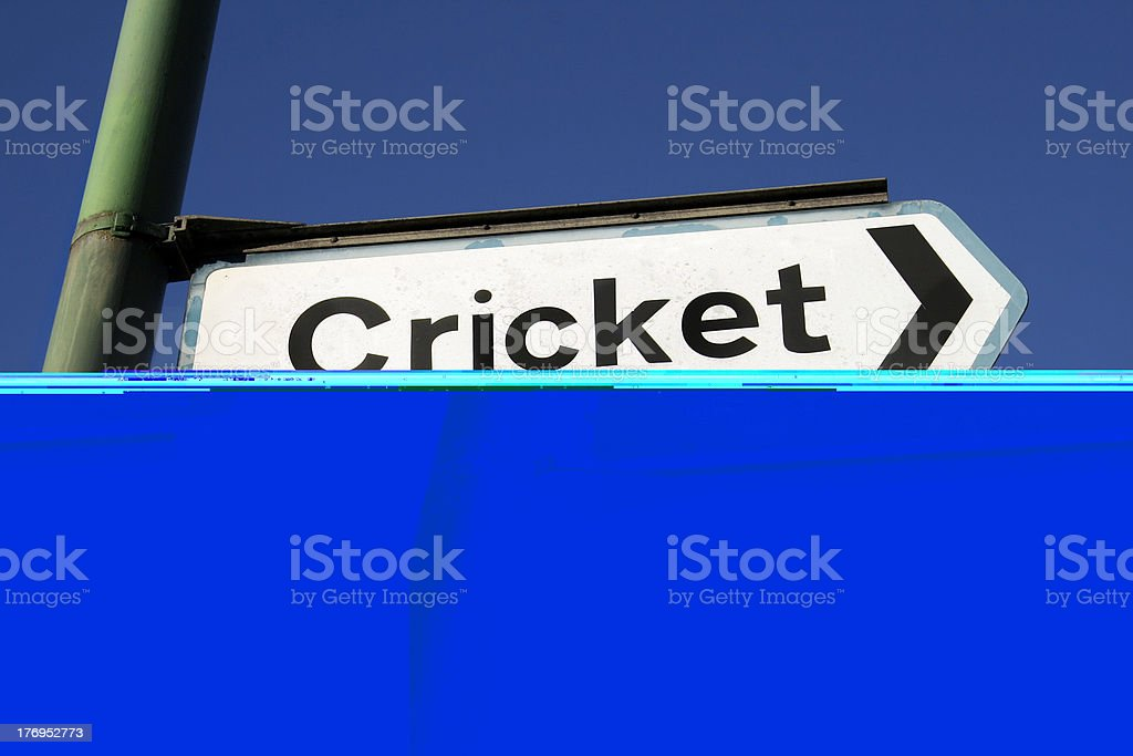 Sign in street outside English cricket stadium royalty-free stock photo