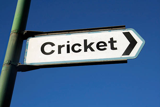 Sign in street outside English cricket stadium stock photo