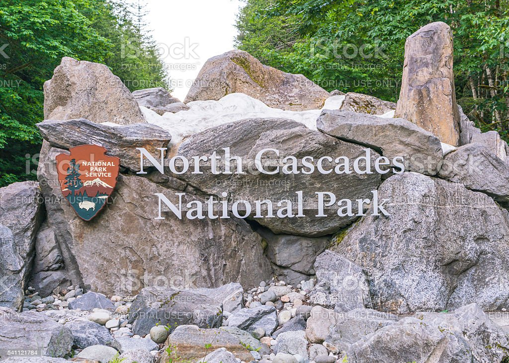 sign in the entrance of North cascade National park,Washington. stock photo