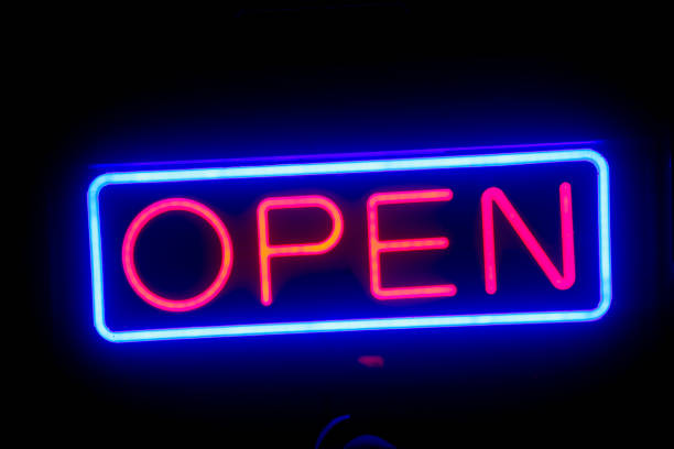 led open sign in the night - open sign stock pictures, royalty-free photos & images