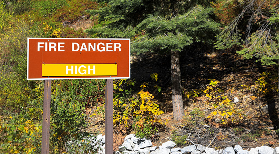 istock A sign in the Yosemite national park warns residents of the high wildfire danger in summer 1218497868