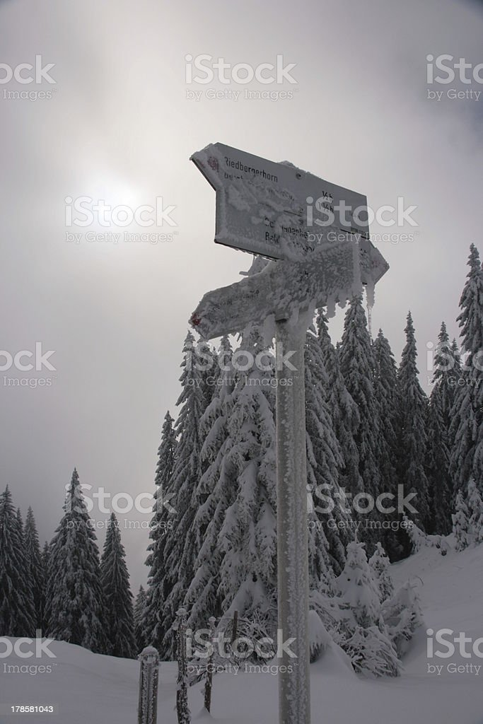sign in winter stock photo