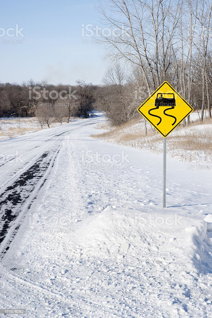 Sign indicating Dangerous Slippery Snow Covered Winter Road royalty-free stock photo