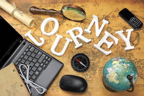 sign journey, laptop, mouse, globe, compass, gsm phone, letter, - sprüche über reisen stock-fotos und bilder