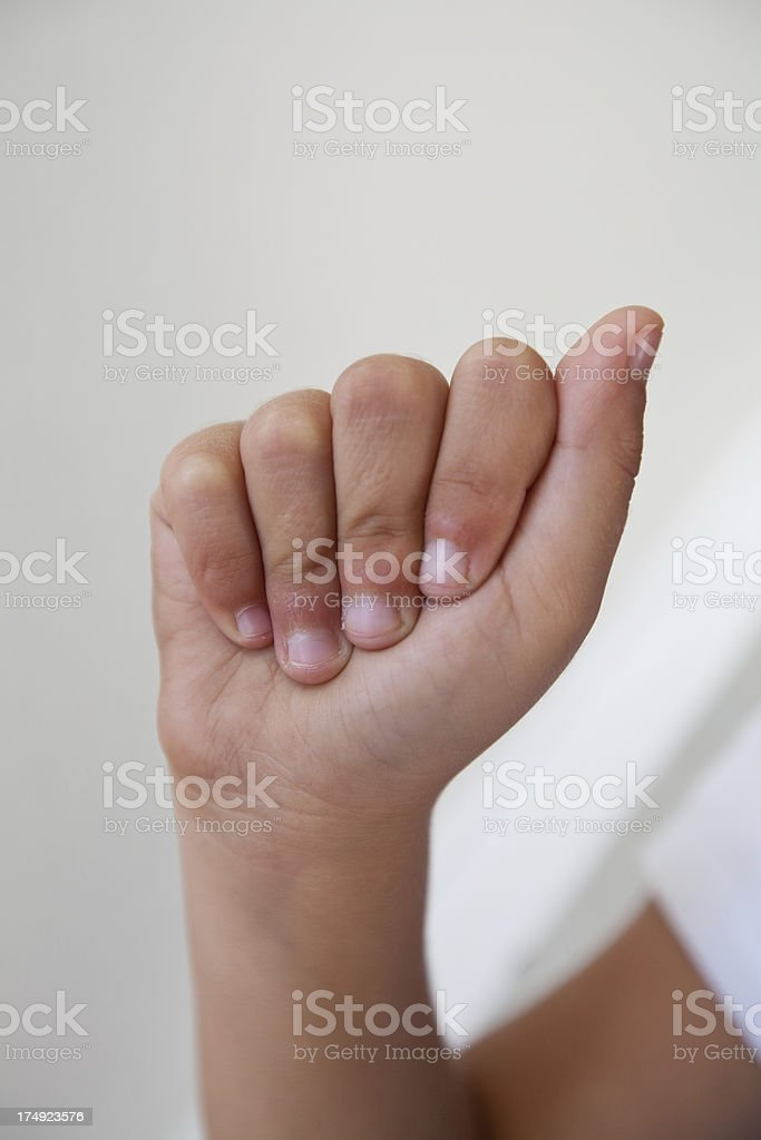 Little hand making an American Sign Language A.