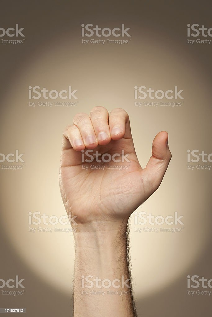 Hand signs - alphabet for deaf-mute people. Letter C.