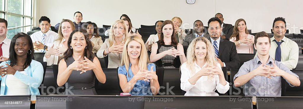 Sign Language Class learning AMERICA stock photo