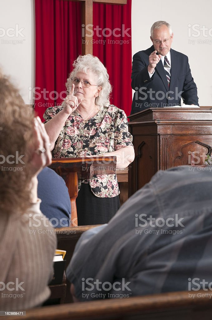 Sign Language Interpreter and Preacher stock photo