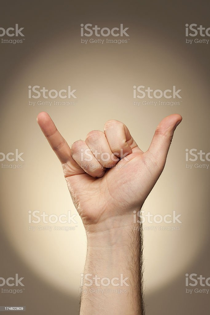 Hand signs - alphabet for deaf-mute people. Letter Y.