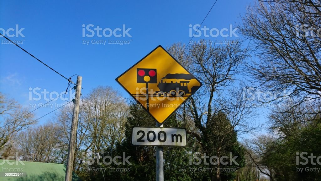 Sign level crossing in 200 meters royalty-free stock photo