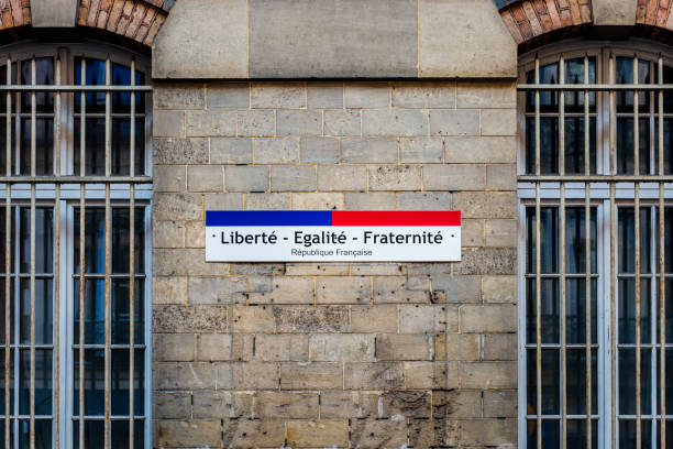sign liberte, egalite, fraternite - in english freedom, equality, fraternity stock photo